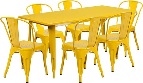 Flash Furniture ET-CT005-6-30-YL-GG 31.5'' x 63'' Rectangular Yellow Metal Indoor Table Set with 6 Stack Chairs - Peazz Furniture