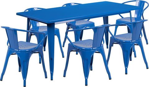 Flash Furniture ET-CT005-6-70-BL-GG 31.5'' x 63'' Rectangular Blue Metal Indoor Table Set with 6 Arm Chairs - Peazz Furniture