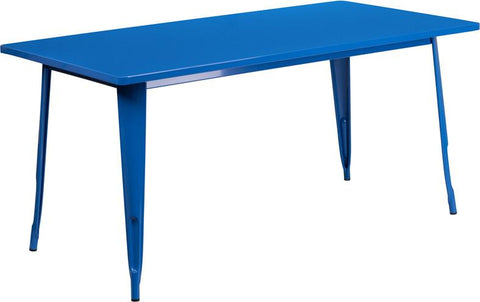 Flash Furniture ET-CT005-BL-GG 31.5'' x 63'' Rectangular Blue Metal Indoor Table - Peazz Furniture