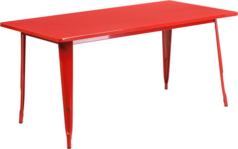 Flash Furniture ET-CT005-RED-GG 31.5'' x 63'' Rectangular Red Metal Indoor Table - Peazz Furniture