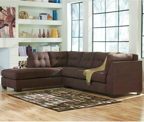 Flash Furniture FBC-2349LFSEC-WAL-GG Benchcraft Maier Sectional with Left Side Facing Chaise in Walnut Microfiber - Peazz Furniture