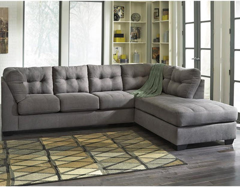 Flash Furniture FBC-2349RFSEC-CRC-GG Benchcraft Maier Sectional with Right Side Facing Chaise in Charcoal Microfiber - Peazz Furniture