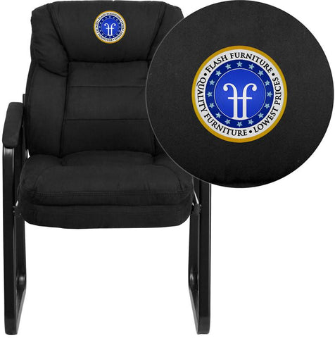 Flash Furniture GO-1156-BK-EMB-GG Embroidered Black Microfiber Executive Side Chair with Sled Base - Peazz Furniture