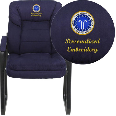 Flash Furniture GO-1156-NVY-EMB-GG Embroidered Navy Microfiber Executive Side Chair with Sled Base - Peazz Furniture