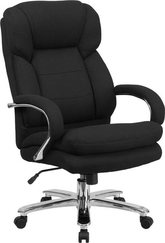 Flash Furniture GO-2078-GG HERCULES Series 24/7 Intensive Use, Multi-Shift, Big & Tall 500 lb. Capacity Black Fabric Executive Swivel Chair with Loop Arms - Peazz Furniture - 1