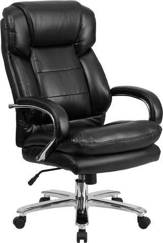 Flash Furniture GO-2078-LEA-GG HERCULES Series 24/7 Intensive Use, Multi-Shift, Big & Tall 500 lb. Capacity Black Leather Executive Swivel Chair with Loop Arms - Peazz Furniture - 1