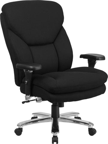 Flash Furniture GO-2085-GG HERCULES Series 24/7 Intensive Use, Multi-Shift, Big & Tall 400 lb. Capacity Black Fabric Executive Swivel Chair with Lumbar Support Knob - Peazz Furniture - 1