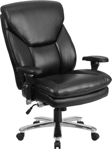 Flash Furniture GO-2085-LEA-GG HERCULES Series 24/7 Intensive Use, Multi-Shift, Big & Tall 400 lb. Capacity Black Leather Executive Swivel Chair with Lumbar Support Knob - Peazz Furniture - 1