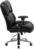 Flash Furniture GO-2149-LEA-GG HERCULES Series 24/7 Intensive Use, Multi-Shift, Big & Tall 400 lb. Capacity Black Leather Executive Swivel Chair with Lumbar Support Knob - Peazz Furniture - 2