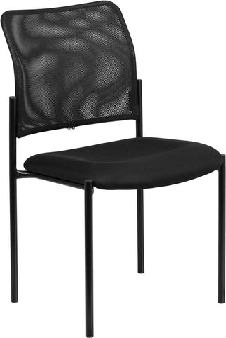 Flash Furniture GO-515-2-GG Black Mesh Comfortable Stackable Steel Side Chair - Peazz Furniture - 1