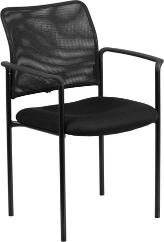 Flash Furniture GO-516-2-GG Black Mesh Comfortable Stackable Steel Side Chair with Arms - Peazz Furniture - 1