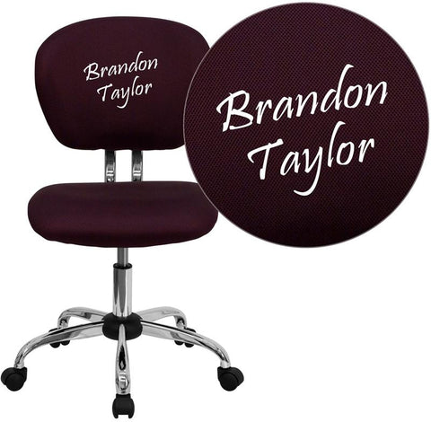 Flash Furniture H-2376-F-BY-TXTEMB-GG Personalized Mid-Back Burgundy Mesh Swivel Task Chair with Chrome Base - Peazz Furniture