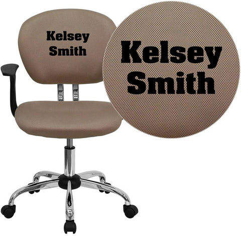 Flash Furniture H-2376-F-COF-ARMS-TXTEMB-GG Personalized Mid-Back Coffee Brown Mesh Swivel Task Chair with Chrome Base and Arms - Peazz Furniture