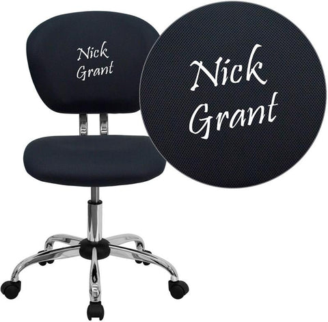 Flash Furniture H-2376-F-GY-TXTEMB-GG Personalized Mid-Back Gray Mesh Swivel Task Chair with Chrome Base - Peazz Furniture