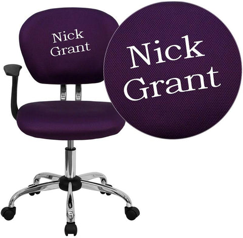 Flash Furniture H-2376-F-PUR-ARMS-TXTEMB-GG Personalized Mid-Back Purple Mesh Swivel Task Chair with Chrome Base and Arms - Peazz Furniture