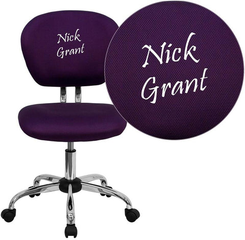 Flash Furniture H-2376-F-PUR-TXTEMB-GG Personalized Mid-Back Purple Mesh Swivel Task Chair with Chrome Base - Peazz Furniture