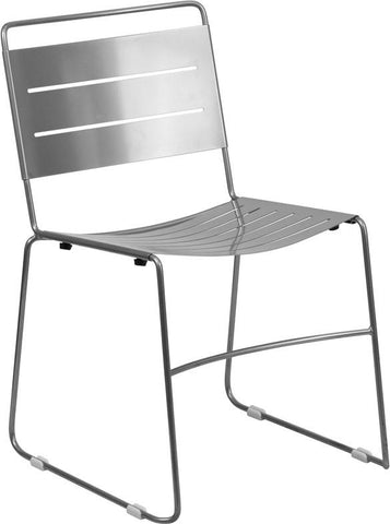Flash Furniture HA-1-SIL-GG HERCULES Series Silver Indoor-Outdoor Metal Stack Chair - Peazz Furniture - 1