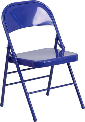 Flash Furniture HF3-BLUE-GG HERCULES COLORBURST Series Cobalt Blue Triple Braced & Double Hinged Metal Folding Chair - Peazz Furniture - 1