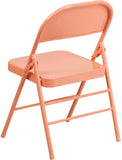 Flash Furniture HF3-CORAL-GG HERCULES COLORBURST Series Sedona Coral Triple Braced & Double Hinged Metal Folding Chair - Peazz Furniture - 3