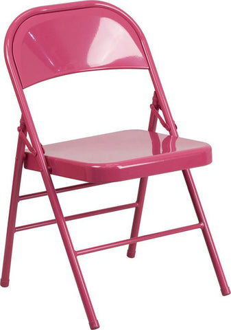 Flash Furniture HF3-FUCHSIA-GG HERCULES COLORBURST Series Shockingly Fuchsia Triple Braced & Double Hinged Metal Folding Chair - Peazz Furniture - 1