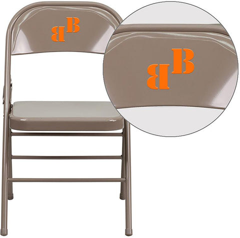 Flash Furniture HF3-MC-309AS-BGE-TXTEMB-VYL-GG Personalized HERCULES Series Triple Braced & Double Hinged Beige Metal Folding Chair - Peazz Furniture