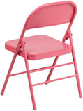 Flash Furniture HF3-PINK-GG HERCULES COLORBURST Series Bubblegum Pink Triple Braced & Double Hinged Metal Folding Chair - Peazz Furniture - 3