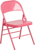 Flash Furniture HF3-PINK-GG HERCULES COLORBURST Series Bubblegum Pink Triple Braced & Double Hinged Metal Folding Chair - Peazz Furniture - 1