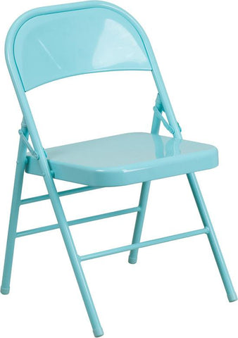 Flash Furniture HF3-TEAL-GG HERCULES COLORBURST Series Tantalizing Teal Triple Braced & Double Hinged Metal Folding Chair - Peazz Furniture - 1