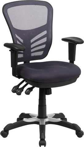 Flash Furniture HL-0001-DK-GY-GG Mid-Back Dark Gray Mesh Swivel Task Chair with Triple Paddle Control - Peazz Furniture