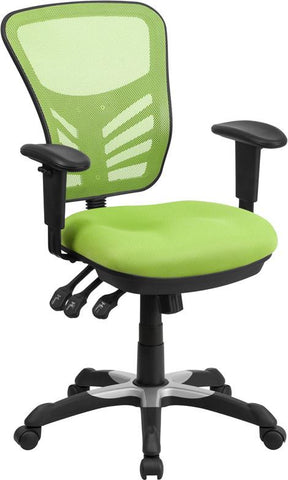 Flash Furniture HL-0001-GN-GG Mid-Back Green Mesh Swivel Task Chair with Triple Paddle Control - Peazz Furniture