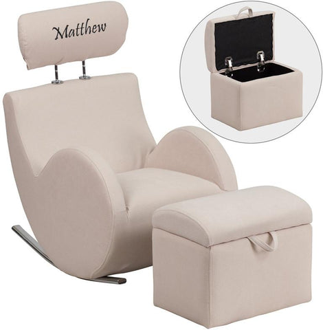 Flash Furniture LD-2025-BG-EMB-GG Personalized HERCULES Series Beige Fabric Rocking Chair with Storage Ottoman - Peazz Furniture
