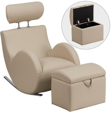 Flash Furniture LD-2025-BG-V-GG HERCULES Series Beige Vinyl Rocking Chair with Storage Ottoman - Peazz Furniture