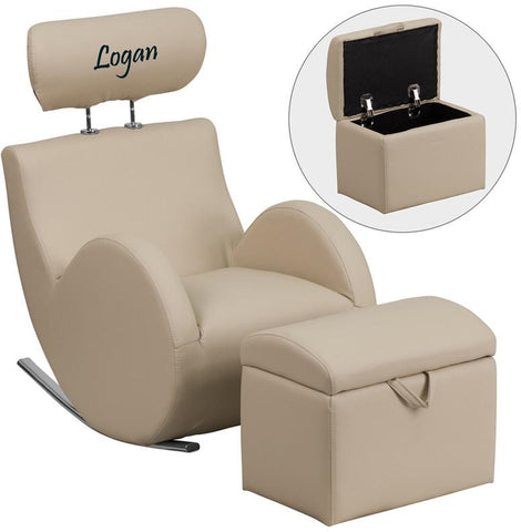 Flash Furniture LD-2025-BG-V-TXTEMB-GG Personalized HERCULES Series Beige Vinyl Rocking Chair with Storage Ottoman - Peazz Furniture