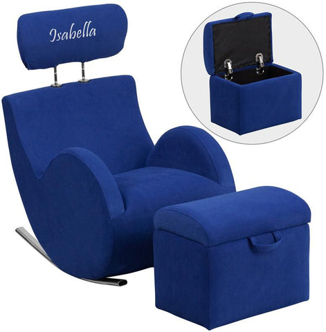 Flash Furniture LD-2025-BL-TXTEMB-GG Personalized HERCULES Series Blue Fabric Rocking Chair with Storage Ottoman - Peazz Furniture