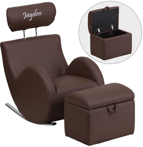 Flash Furniture LD-2025-BN-V-EMB-GG Personalized HERCULES Series Brown Vinyl Rocking Chair with Storage Ottoman - Peazz Furniture