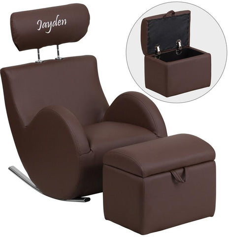 Flash Furniture LD-2025-BN-V-TXTEMB-GG Personalized HERCULES Series Brown Vinyl Rocking Chair with Storage Ottoman - Peazz Furniture