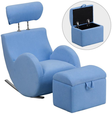 Flash Furniture LD-2025-LTBL-GG HERCULES Series Light Blue Fabric Rocking Chair with Storage Ottoman - Peazz Furniture