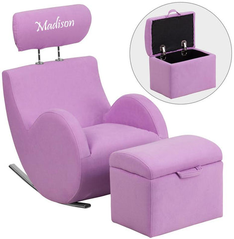 Flash Furniture LD-2025-LV-TXTEMB-GG Personalized HERCULES Series Lavender Fabric Rocking Chair with Storage Ottoman - Peazz Furniture