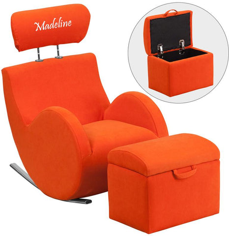 Flash Furniture LD-2025-OR-TXTEMB-GG Personalized HERCULES Series Orange Fabric Rocking Chair with Storage Ottoman - Peazz Furniture