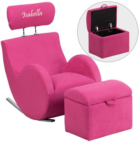 Flash Furniture LD-2025-PK-TXTEMB-GG Personalized HERCULES Series Pink Fabric Rocking Chair with Storage Ottoman - Peazz Furniture