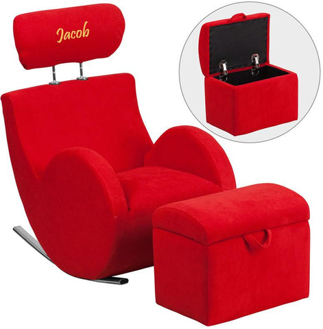 Flash Furniture LD-2025-RD-TXTEMB-GG Personalized HERCULES Series Red Fabric Rocking Chair with Storage Ottoman - Peazz Furniture