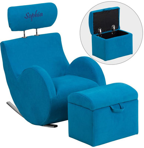 Flash Furniture LD-2025-TQ-EMB-GG Personalized HERCULES Series Turquoise Blue Fabric Rocking Chair with Storage Ottoman - Peazz Furniture
