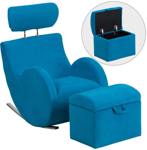 Flash Furniture LD-2025-TQ-GG HERCULES Series Turquoise Blue Fabric Rocking Chair with Storage Ottoman - Peazz Furniture