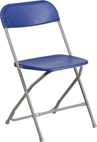 Flash Furniture LE-L-3-BLUE-GG HERCULES Series 800 lb. Capacity Premium Blue Plastic Folding Chair - Peazz Furniture