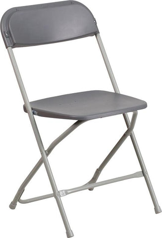 Flash Furniture LE-L-3-GREY-GG HERCULES Series 800 lb. Capacity Premium Grey Plastic Folding Chair - Peazz Furniture - 1