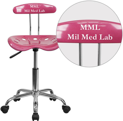 Flash Furniture LF-214-PINK-TXTEMB-VYL-GG Personalized Vibrant Pink and Chrome Task Chair with Tractor Seat - Peazz Furniture