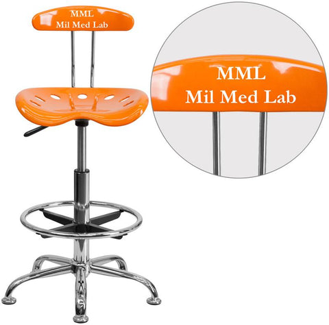 Flash Furniture LF-215-ORANGEYELLOW-TXTEMB-VYL-GG Personalized Vibrant Orange and Chrome Drafting Stool with Tractor Seat - Peazz Furniture