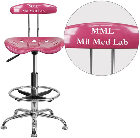 Flash Furniture LF-215-PINK-TXTEMB-VYL-GG Personalized Vibrant Pink and Chrome Drafting Stool with Tractor Seat - Peazz Furniture