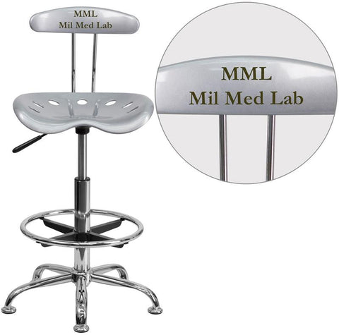 Flash Furniture LF-215-SILVER-TXTEMB-VYL-GG Personalized Vibrant Silver and Chrome Drafting Stool with Tractor Seat - Peazz Furniture