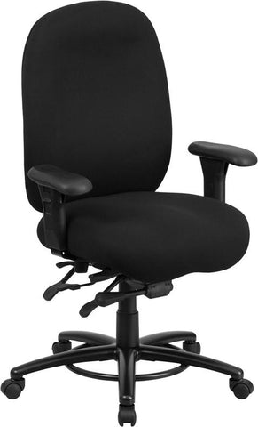 Flash Furniture LQ-1-BK-GG HERCULES Series 24/7 Intensive Use, Multi-Shift, Big & Tall 350 lb. Capacity Black Fabric Multi-Functional Swivel Chair with Foot Ring - Peazz Furniture - 1